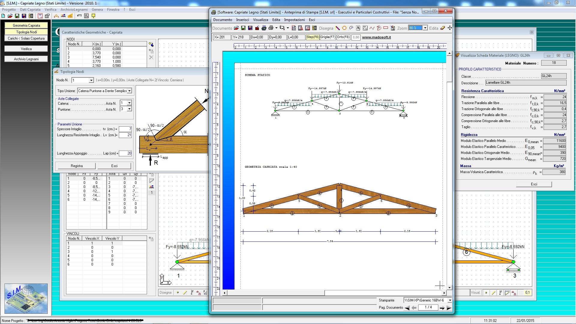 Progetto Capriata In Legno calcolo capriata in legno - sim srl [software tecnico