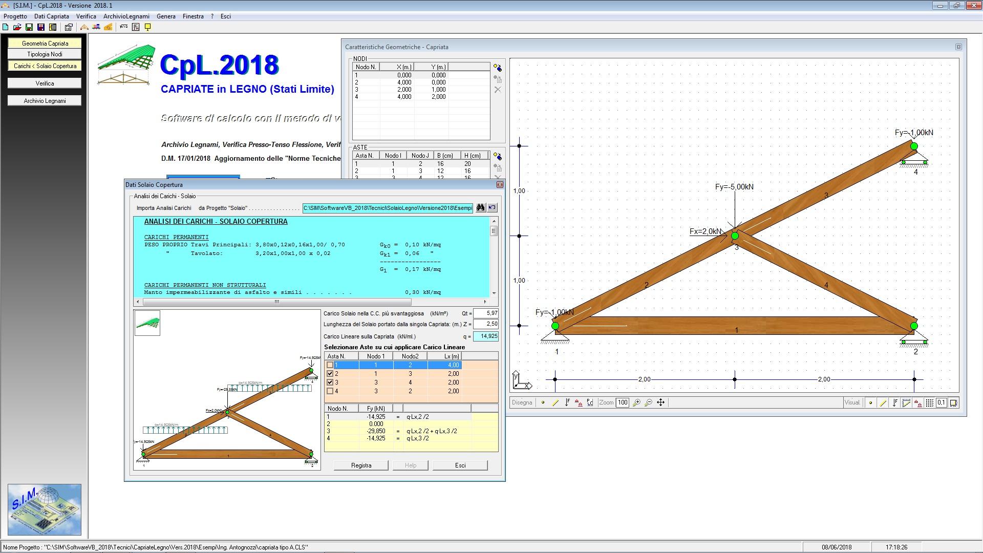 Progetto Capriata In Legno capriate in legno - sim srl [software tecnico , gestionale